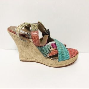 Coco Moku 39 7.5 8 Colourful Faux Snake Leather Espadrille Wedge Heels As New